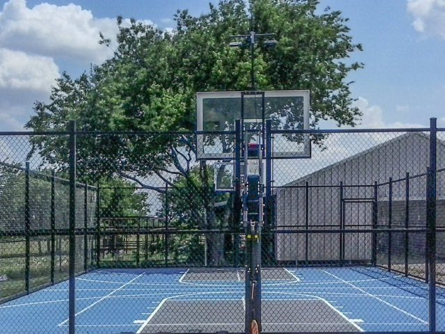 Our resurfacing (color coat) make make an old court look like new. Give new life to your sports court with a new surface and add screens for privacy and shade.