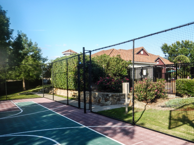 Screens, fabric canopy tarps and mesh netting can be used in a variety of ways on and around the court. Our resurfacing (color coat) make make an old court look like new. Give new life to your sports court with a new surface and screens for privacy and shade.