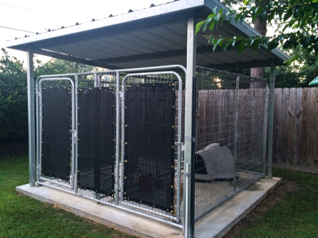 Shade screens and tarps not only help provide protection for dogs, but are beneficial in lowering stress, improving health, but protect the animals from weather while providing proper ventilation