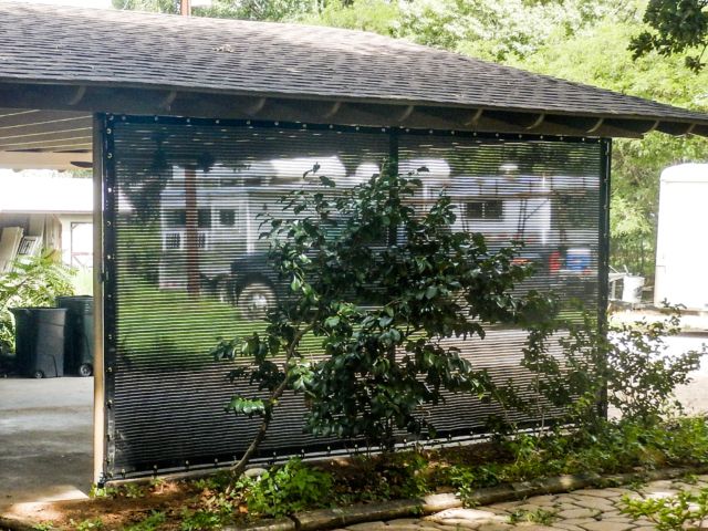 Function exceeds beauty when windscreens are used in your carport and landscape.  Durable and able to provide reduction is sun damage, rain, blowing dust and even snow these screens earn their keep.