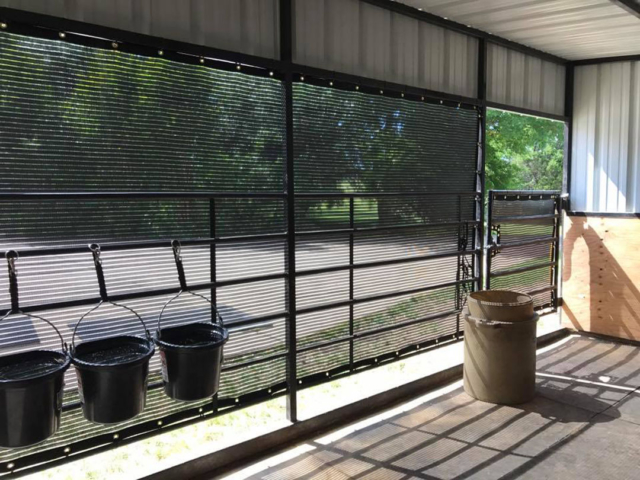 Ventilation is important to the health of horses especially if they have to be stalled up for any extended length of time due to injury or illness.  Our ventilated windscreens are perfect for this application.