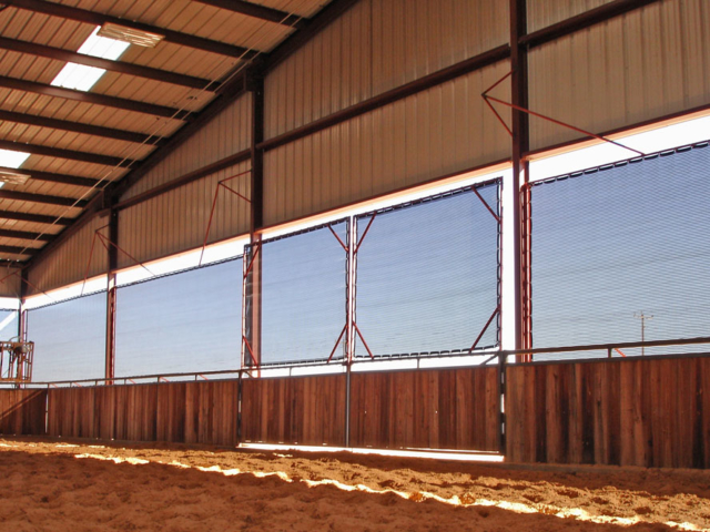 One of the best applications for Windscreen Supply windscreens is for weather protection for farm and ranch livestock. Weather protection shade screens help with climate control in arenas, barns, stalls, pens, and chutes by blocking wind, dust, rain, snow, and sun.