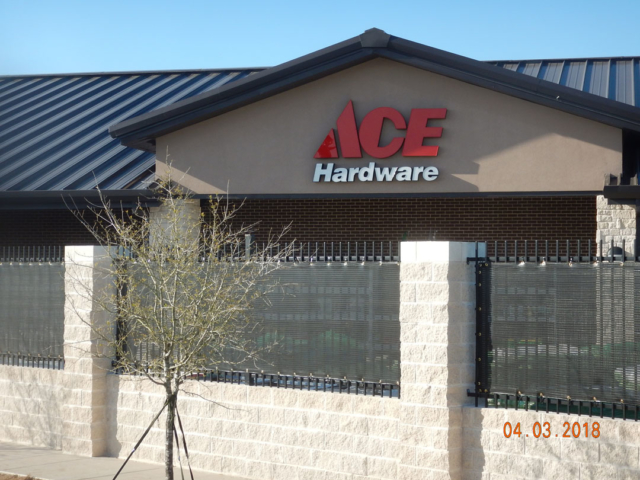 Items stored in front of retail centers often become less than attractive from the street.  Windscreens add a finished look to the exterior without closing in the area to shoppers.