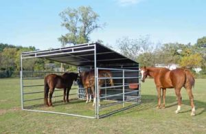 Using screens to shade and protect calves and horses from wind, rain, and sun