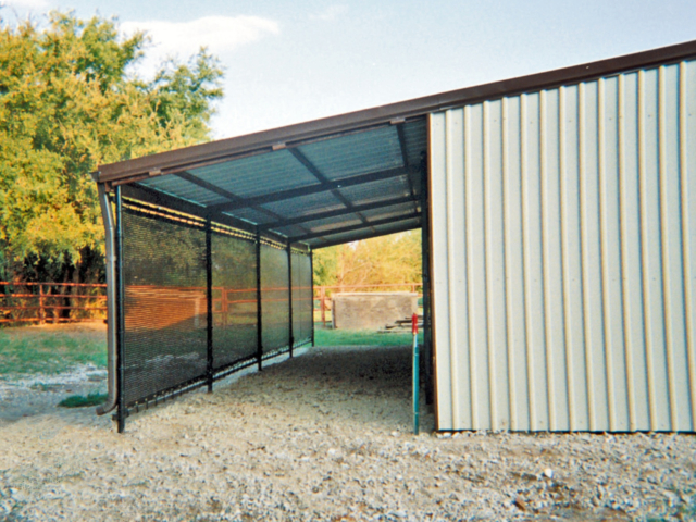 Weather protection screens help with climate control in areas around the barn by blocking wind, dust, rain, snow, and sun.