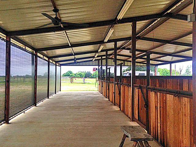 Barns can be used year round when ventilated shade screens are installed adding privacy, reducing outside distractions, and lessening harsh weather elements all while keeping an open air atmosphere.