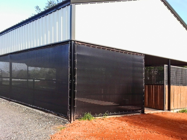 Barns can be used year round when ventilated shade screens are installed adding privacy, lessening harsh weather elements.  Windscreens block harmful UV rays and are strong and durable to withstand harsh weather.